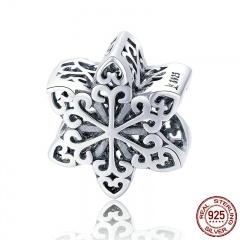 Genuine 925 Sterling Silver Elegant Snowflake Openwork Beads fit Women Charm Bracelets & Necklace DIY Jewelry SCC719 CHARM-0787