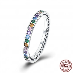 Genuine 100% 925 Sterling Silver Colorful CZ Crystal Round Pave Finger Rings Engagement Wedding Jewelry Gift S925 SCR392 RING-0436