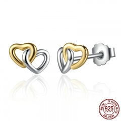 New Arrival 925 Sterling Silver Heart to Heart Small Stud Earrings Women Engagement Jewelry PAS442 EARR-0064