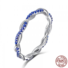 New Arrival 925 Sterling Silver Ring Twisted Line Round Blue CZ Finger Rings for Women Wedding Engagement Jewelry SCR402 RING-0447