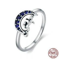 Genuine 925 Sterling Silver Cat Sleep in Blue Moon Crystal Finger Rings for Women Sterling Silver Jewelry Anel SCR340 RING-0374