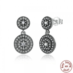 925 Sterling Silver Radiant Elegance Earrings Clear CZ Crystals Surrounded Ancient Silver Women Drop Earings PAS471 EARR-0039