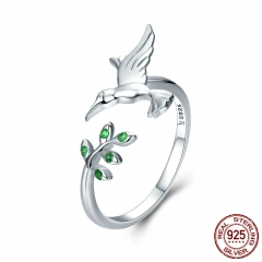 Authentic 925 Sterling Silver Bird & Spring Tree Leaves Open Size Finger Rings for Women Sterling Silver Jewelry SCR323 RING-0373