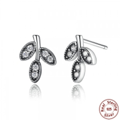 Presents 925 Sterling Silver Sparkling Leaves Stud Earrings Clear CZ Fashion Jewelry Special Store PAS416 EARR-0007