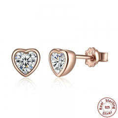 925 Sterling Silver One Love Stud Earrings with Clear CZ Female Brincos for Woman Fine Jewelry PAS452 EARR-0059