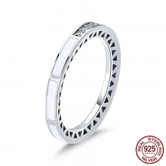 100% 925 Sterling Silver White Enamel Geometric Engrave Clear CZ Finger Ring for Women Wedding Engagement Jewelry SCR372 RING-0428