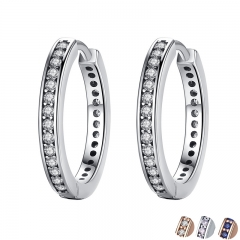 2018 FLASH DEALS 4 Colors 925 Sterling Silver CZ Simple Female Hoop Earrings Jewelry for Women Sterling Silver Jewelry PAS456 EARR-0047