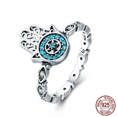 Genuine 100% 925 Sterling Silver Fatima's Guarding Hand Blue CZ Eyes Finger Ring for Women Engagement Jewelry SCR369 RING-0407