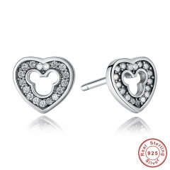 New Collection 925 Sterling Silver Heart Shape Stud Earrings with CZ for Women Weddings Fashion Jewelry PAS415 EARR-0017