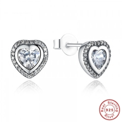 925 Sterling Silver Love Heart Shape Stud Earrings for Women Clear Cubic Zirconia Fashion Anniversary Jewelry PAS405 EARR-0012
