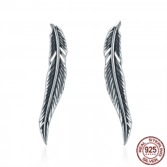 Authentic 100% 925 Sterling Silver Feathers Wing Stud Earrings With White Clear CZ for Women Anniversary Jewelry SCE258 EARR-0016