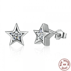 Starshine, Clear CZ 925 Sterling Silver Star Push-back Women Stud-Earrings Jewelry Brincos Pendientes Mujer PAS436 EARR-0050