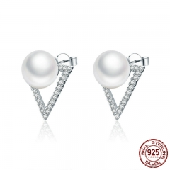 925 Sterling Silver Elegant Triangle Freshwater Pearl Stud Earrings for Women Sterling Silver Earrings Jewelry SCE268