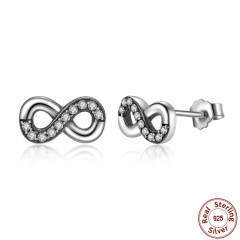 High Quality 925 Sterling Silver Infinity Love, Clear CZ Knot Earrings for Women Fine Jewelry PAS475 EARR-0057