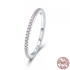 925 Sterling Silver Pink Crystal Wedding Female Rings for Women Simple Geometric Ring Sterling Silver Jewelry SCR066 RING-0131A