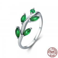 High Quality 925 Sterling Silver Tree of Life Green CZ Crystal Finger Rings for Women Sterling Silver Jewelry Anel SCR327 RING-0381