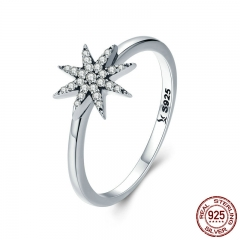 High Quality 100% 925 Sterling Silver Sparkling Star Dazzling CZ Finger Rings for Women Engagement Jewelry Anel SCR315 RING-0364