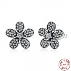 Original 925 Sterling Silver Dazzling Daisy Flower Stud Earrings for Women Jewelry PAS434 EARR-0022