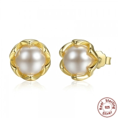 Authentic 925 Sterling Silver Simulated Pearl Stud Earrings Gold Color Jewelry for Women Party PAS419 EARR-0021