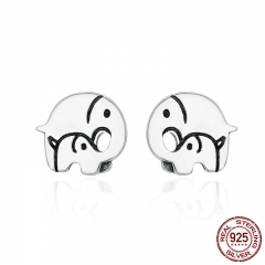 Design New 925 Sterling Silver Elephant Mother Family Love Stud Earrings for Women Sterling Silver Jewelry Gift SCE182
