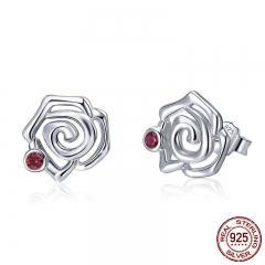 Genuine 925 Sterling Silver Romantic Rose Flower Stud Earrings for Women Pink CZ Fine Sterling Silver Jewelry 2018 BSE006
