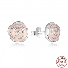 Original 925 Sterling Silver Rose Petal Garden Stud Earrings Pink Enamel Compatible with Jewelry PAS401 EARR-0002