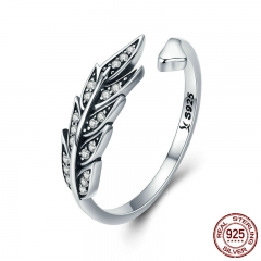 Hot Sale Authentic 925 Sterling Silver Feather Wings Adjustable Finger Ring for Women Sterling Silver Jewelry Gift SCR313 RING-0357