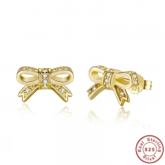 Romantic Authentic Sparkling 925 Sterling Silver Bow Stud Earrings Jewelry PAS418 EARR-0018