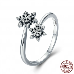 High Quality 925 Sterling Silver Dazzling CZ Snowflake Open Size Finger Rings for Women Sterling Silver Jewelry SCR333 RING-0366