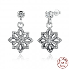 Vintage 925 Sterling Silver Lace Botanique, Clear CZ Floral Motif Drop Earrings for Women Jewelry PAS432 EARR-0024