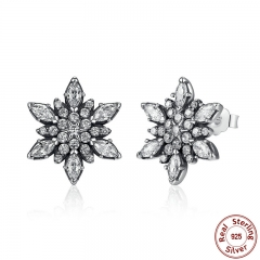 Original 925 Sterling Silver Crystalize Snowflake Clear Crystals Stud Earrings for Women Jewelry PAS430 EARR-0020