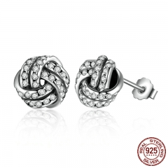 Popular 925 Sterling Silver Weave Classic Push-back Stud Earring Women Jewelry brinco PAS476 EARR-0065
