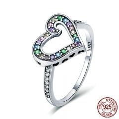 Authentic 925 Sterling Silver Rainbow Love Heart Rainbow Crystal CZ Finger Ring for Women Sterling Silver Jewelry SCR413 RING-0458