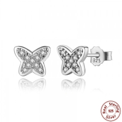 925 Sterling Silver Petite Butterfly Stud Earrings, Clear CZ Female Earrings for Women Wedding Fine Jewelry PAS439 EARR-0046
