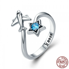 100% 925 Sterling Silver Trendy Star Tours Star & Plane Female Finger Rings for Women Sterling Silver Jewelry Anel SCR322 RING-0360