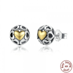Brincos 925 Sterling Silver My One True Love Stud Earrings for Women Openwork Heart Earrings Fine Jewelry PAS443 EARR-0043