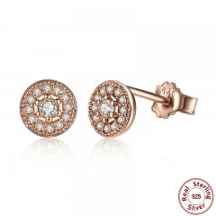 Elegant 925 Sterling Silver Radiant Elegance Clear CZ Women Round Stud Earrings Jewelry Brincos PAS451 EARR-0051