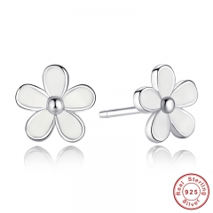 925 Sterling Silver Darling Daisy Stud Earring White Enamel With Clear CZ Compatible with Jewelry Special Store PAS409 EARR-0006