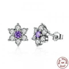 925 Sterling Silver Forget Me Not, Purple & Clear CZ Earrings for Women boucle d'oreille femme Fine Jewelry PAS463 EARR-0054