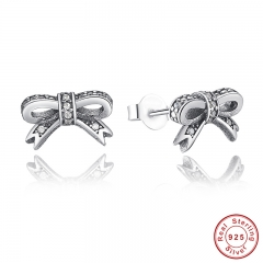 Delicate 100% 925 Sterling Silver Sparkling Bow Stud Earrings With Clear CZ Women Party Luxury Jewelry PAS407 EARR-0014
