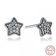 Authentic 925 Sterling Silver Five-pointed Star Stud Earrings With Clear CZ Fashion Design Jewelry PAS408 EARR-0004