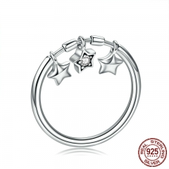 100% 925 Sterling Silver Fashion Sparkling Dangle Star Finger Rings for Women Wedding Engagement Ring Jewelry SCR406 RING-0438