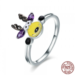 New Trendy 100% 925 Sterling Silver Magic Elk Deer Party Purple CZ Finger Ring Women Sterling Silver Jewelry Gift SCR358 RING-0398