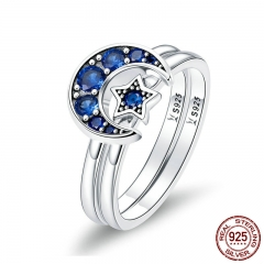 Authentic 925 Sterling Silver Blooming Moon and Star Blue CZ Female Rings for Women Sterling Silver Jewelry Anel SCR412 RING-0452