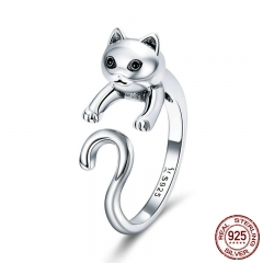Genuine 925 Sterling Silver Long Tail Naughty Cat Finger Rings for Women Adjustable Size Sterling Silver Jewelry SCR409 RING-0454