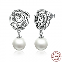 New 100% Authentic 925 Sterling Silver Rose and Pearl Female Earrings TOP Quality Drop Earrings Jewelry SCE001 EARR-0034