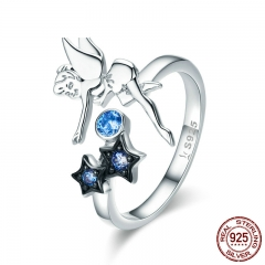 Hot Sale Authentic 925 Sterling Silver Fairy with Star Luminous CZ Finger Ring for Women Sterling Silver Jewelry SCR349 RING-0391