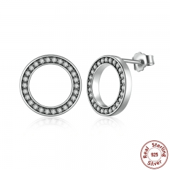 Forever Clear CZ 925 Sterling Silver Circle Round Stud Earrings with CZ Jewelry GIFT Oorbellen Bijoux PAS437 EARR-0053