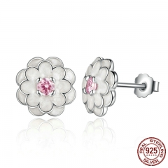 Spring Collection 925 Sterling Silver White Flower Elegant Stud Earrings Women Wedding Luxury Jewelry PAS462 EARR-0063