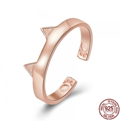 925 Sterling Silver Cat Ears Rose Gold Color Animal Ears Shape Adjustable Finger Rings Party Wedding Jewelry SCR387-3 RING-0434